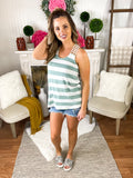 Minted Mint Stripe Tank Top With Crochet Back