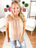 Deseree Dusty Rose Flutter Blouse