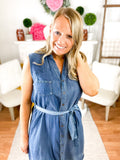 Chambray Shelly Sleeveless Dress With Tie Belt