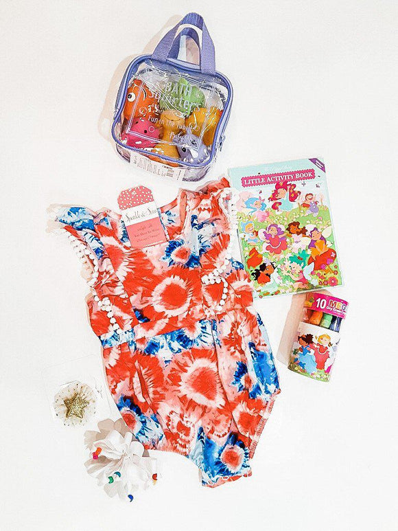 Time For Fun Red And Blue Tie Dye Baby Romper