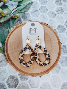 Gabby Teardrop Earrings With Cheetah Print