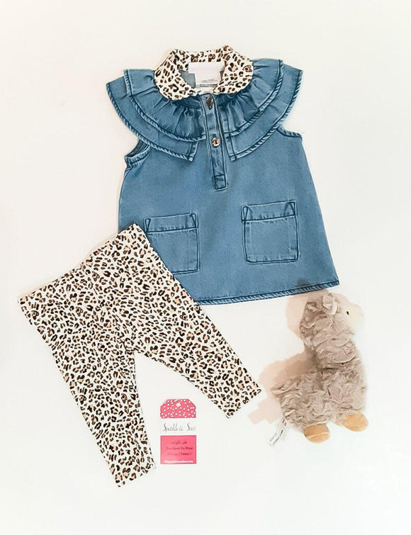 Denim And Cute Animal Print And Denim 2 Piece Outfit Baby/Toddler