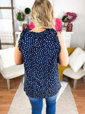 Natalie Navy Blouse With Pattern