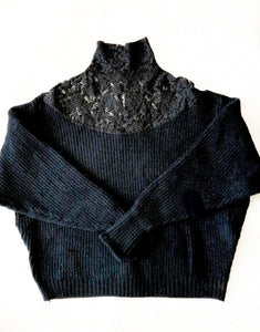 Secretely Yours Black Lace Detail Curvy Sweater