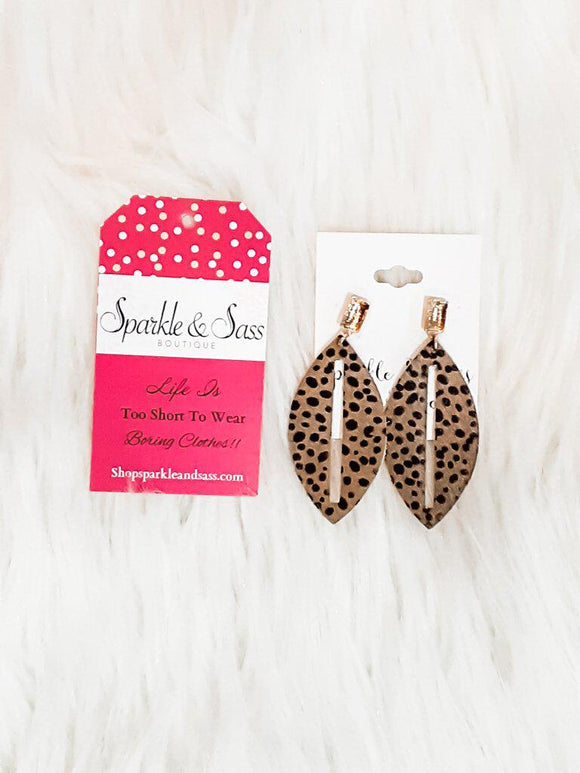 Leather Spotted Tear Drop Earring
