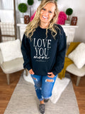 Love You More Black Splatter Print Sweatshirt