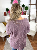 Raw Edge Mauve Swiss Dot Sweater With Pocket