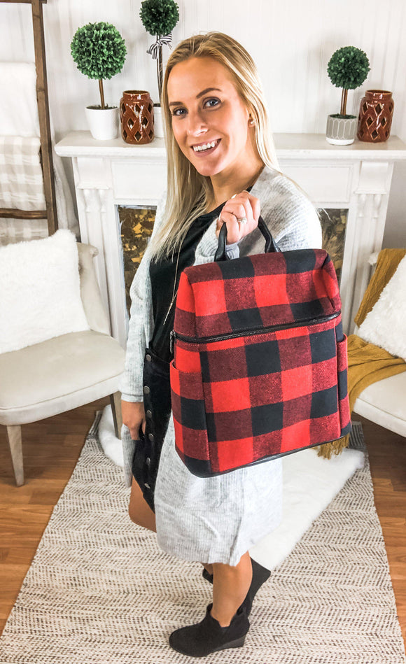Rachael Black And Red Plaid Backpack