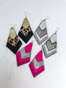 Gorgeous Leather And Fringe Earrings
