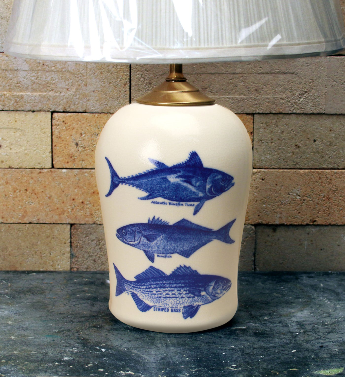 Chatham Pottery Trio of Fish Small Lamp