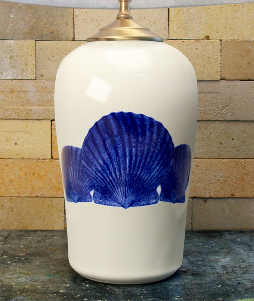 Chatham Pottery Scallop Shells In Glaze Decal Large Lamp