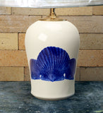 Chatham Pottery Scallop Shells In Glaze Decal Medium Lamp
