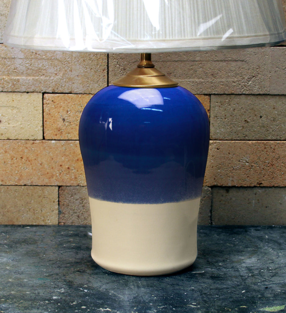 Chatham Pottery Duotone Cobalt and White Small Lamp