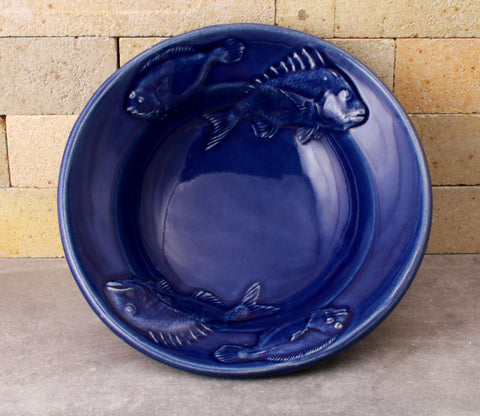 Fluke and Scup Relief Bowl - Cobalt Blue