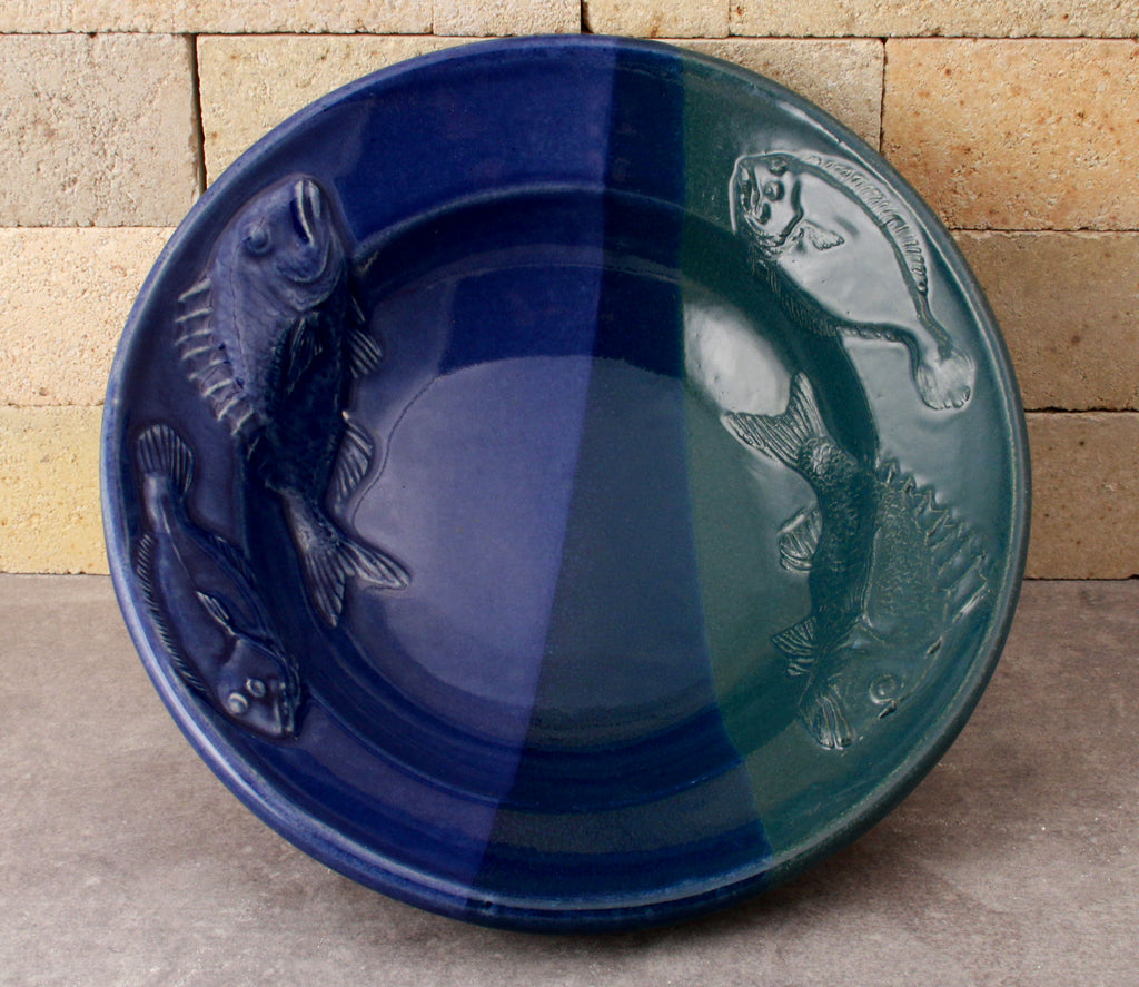 Fluke and Scup Relief Bowl - Cobalt and Denim