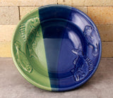 Fluke and Scup Relief Bowl - Cobalt Blue and Sea Green