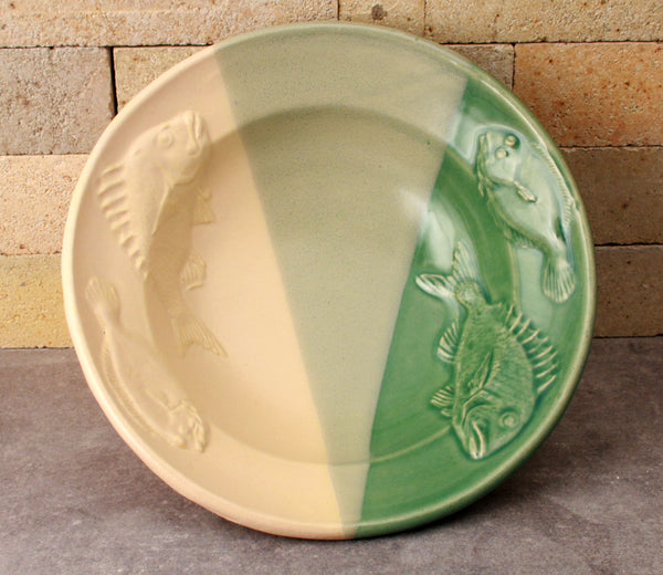Fluke and Scup Relief Bowl - Sea Green and Yellow
