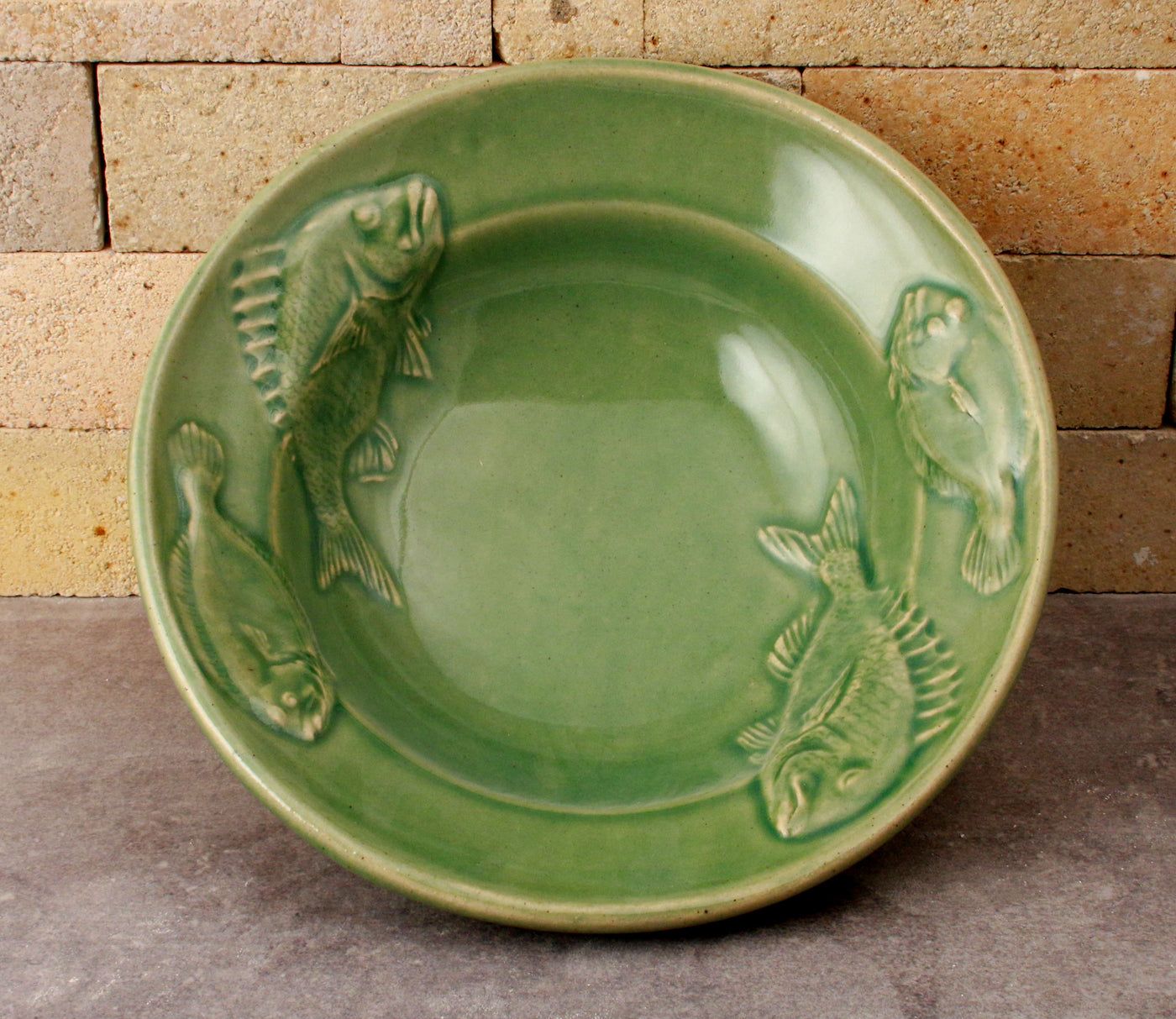 Fluke and Scup Relief Bowl - Sea Green