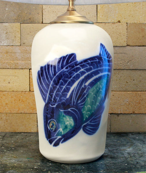 Chatham Pottery Hand Painted Fish Large Lamp