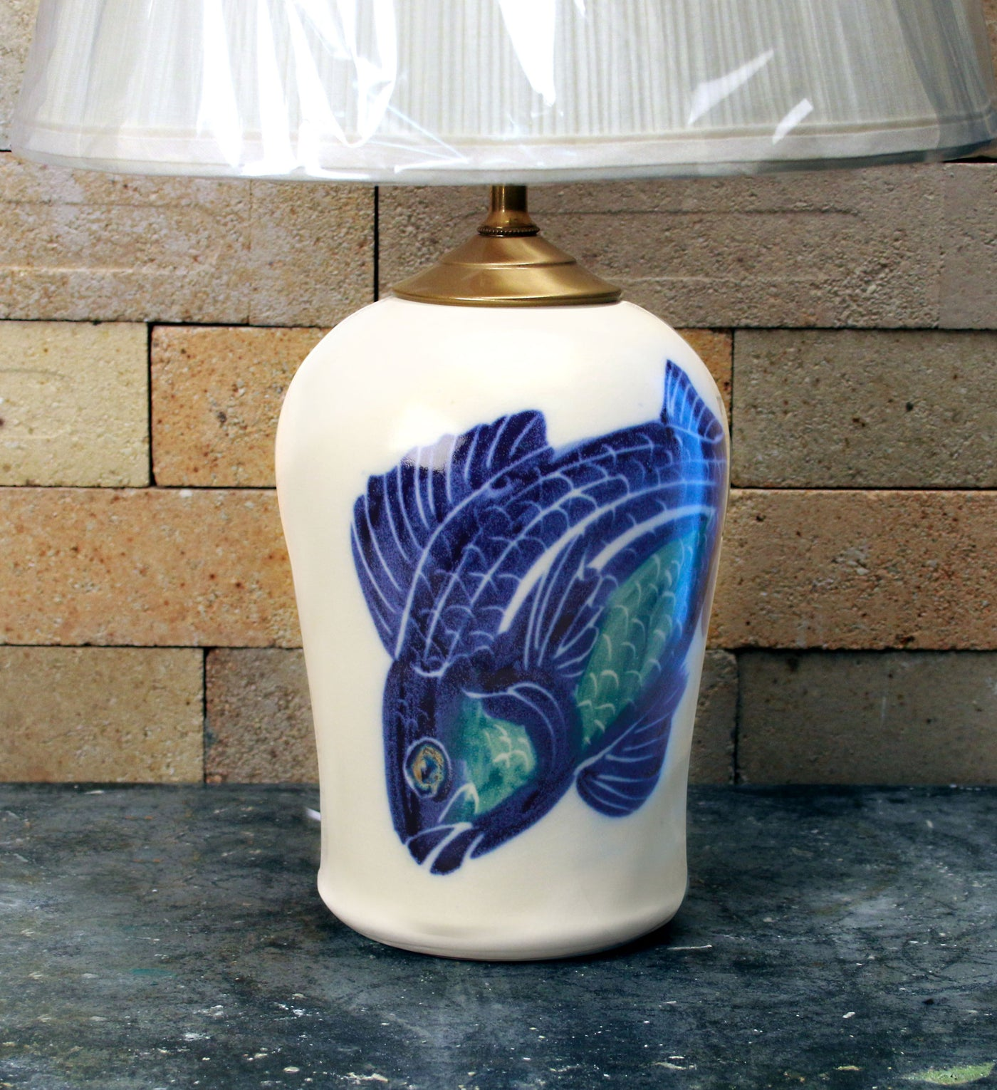Chatham Pottery Hand Painted Fish Small Lamp