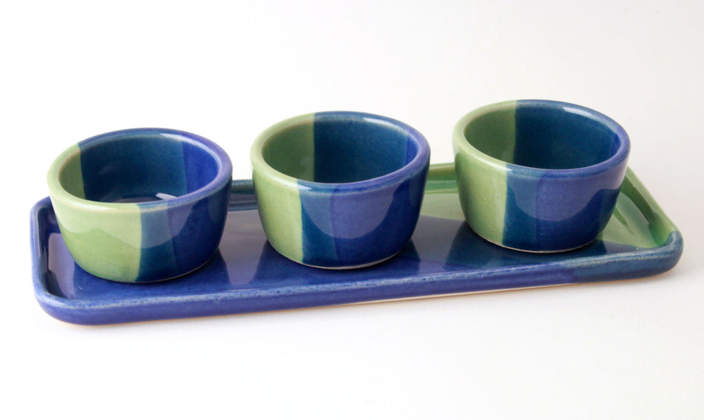 Sea Green and Cobalt Pinch Pot Set