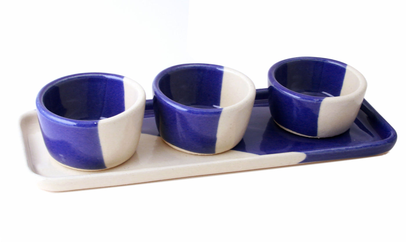 Cobalt and White Pinch Pot Set