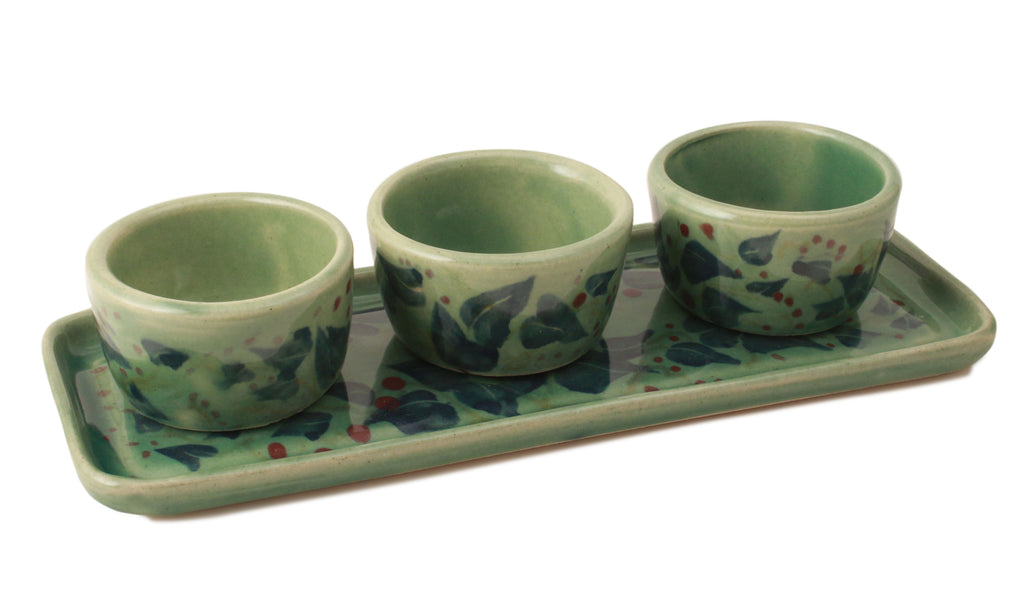 Green Holly Pinch Pot Set