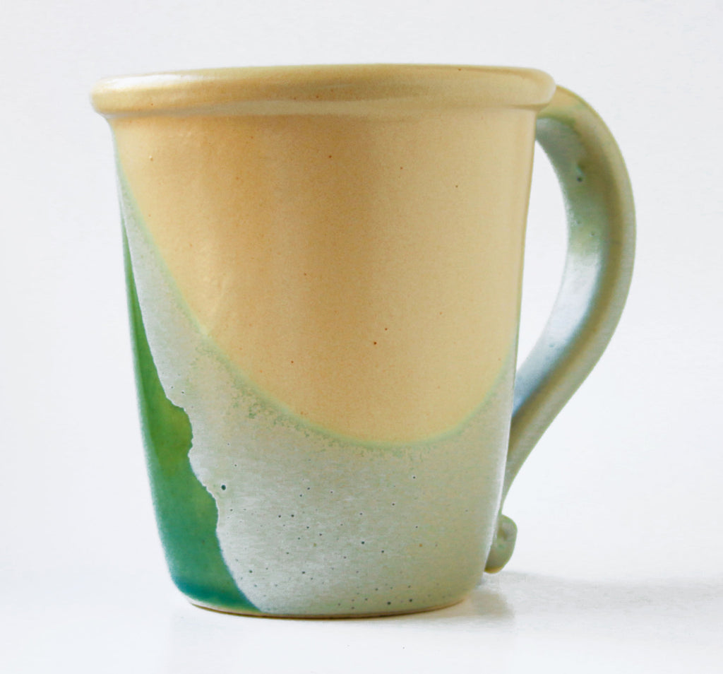 Chatham Pottery Duotone Sea Green and Yellow Mug