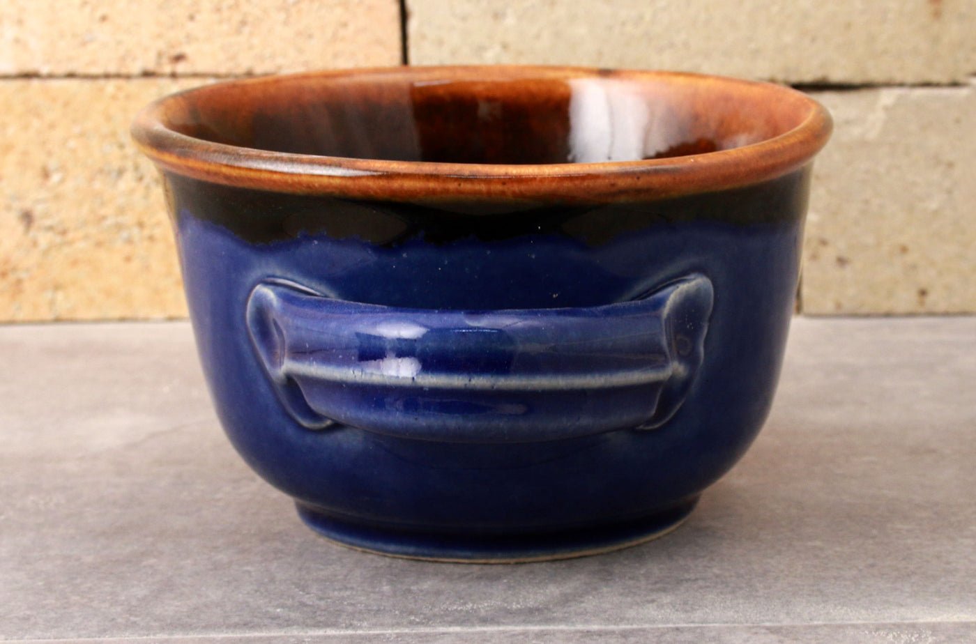 "Shave Mug - the ""Western"" - Chestnut and Cobalt"
