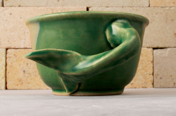 "Shave Mug - the ""Whale Tail"" - Sea Green and Yellow"