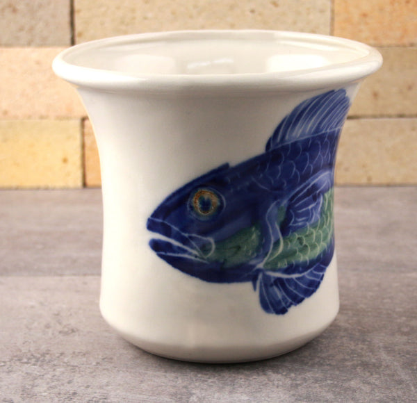 Utensil Holder - Hand Painted Fish