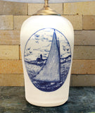 Chatham Pottery Catboat In-Glaze Decal Large Lamp