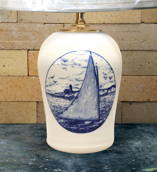 Chatham Pottery Catboat In-Glaze Decal Medium Lamp