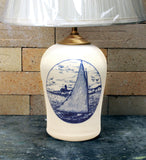 Chatham Pottery Catboat In-Glaze Decal Small Lamp