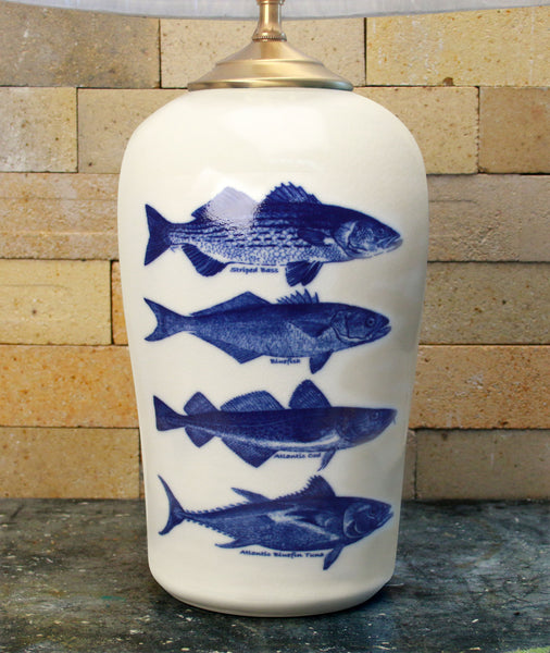 Chatham Pottery Four Fish In-Glaze Decal Large Lamp