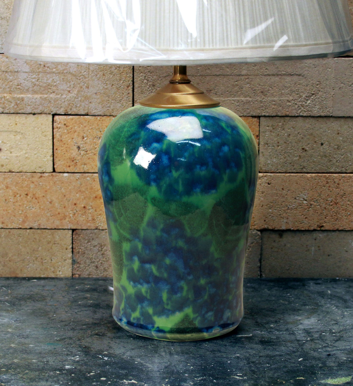 Chatham Pottery Green Hydrangea Small Lamp