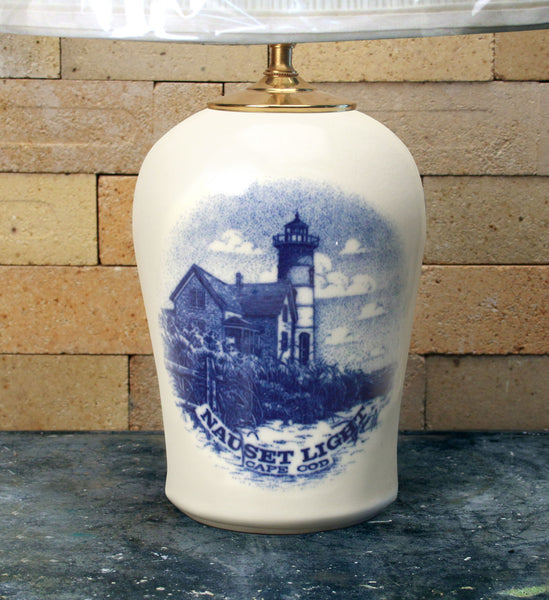 Chatham Pottery Nauset Light In Glaze Decal Medium Lamp