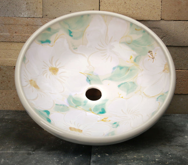 Vessel Sink - White Floral