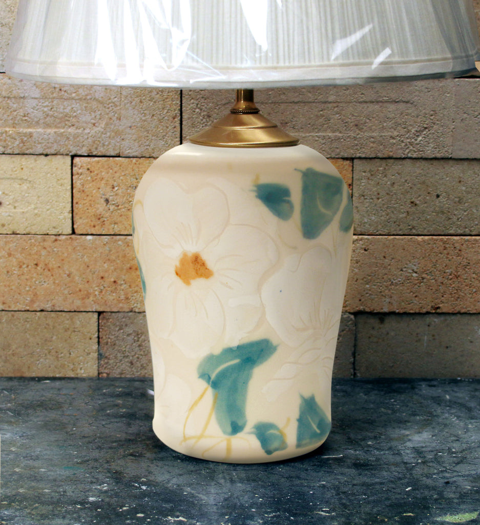 Chatham Pottery White Floral Small Lamp