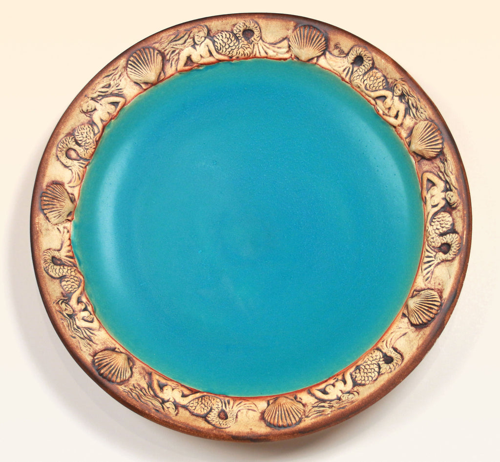 Mermaid Platter - Caribbean Blue / Raw Edge