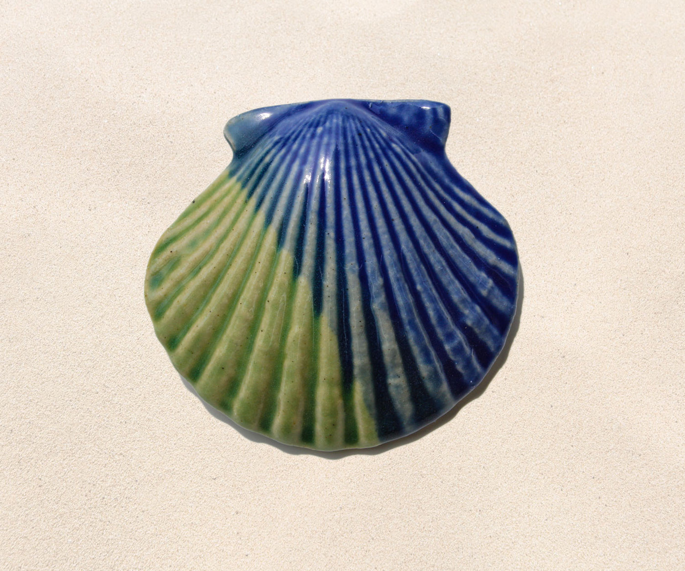 Shell Paperweight - Sea Green and Cobalt