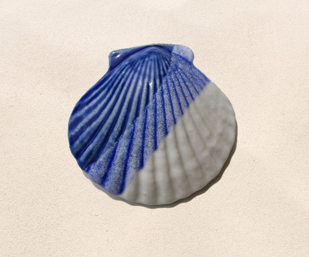 Shell Paperweight - Cobalt and White