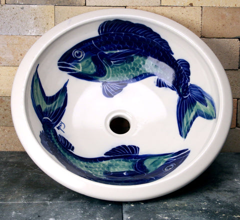 Drop-In Sink - Handpainted Fish