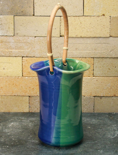 Wine Caddy - Sea Green and Cobalt