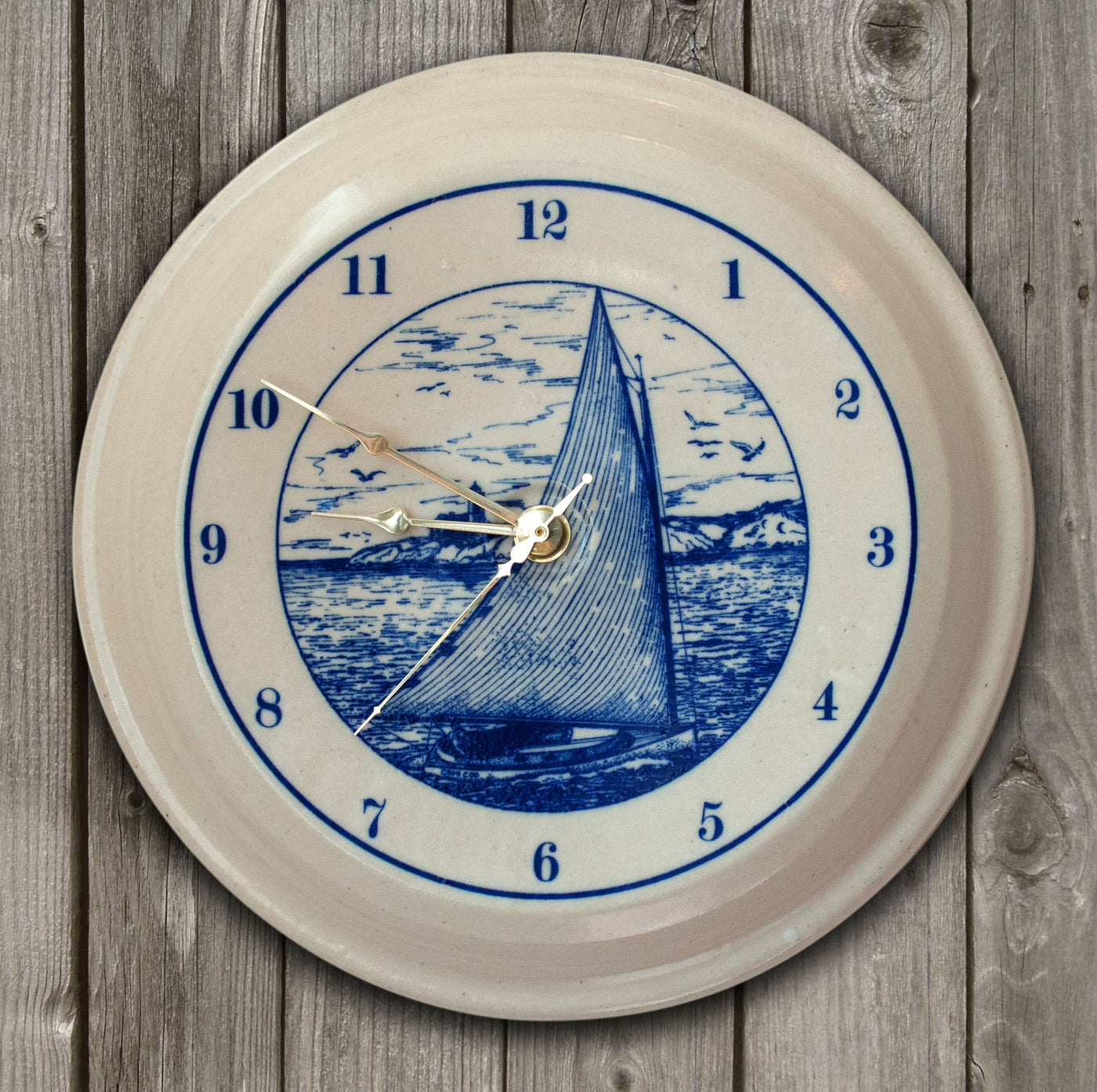 CLOCK - In-Glaze Decal - Cat Boat