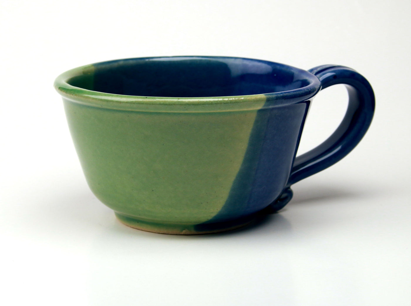 Chowder Mug - Duotone Glaze - Sea Green and Cobalt