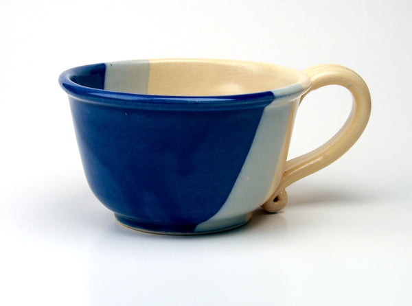 Chowder Mug - Duotone Glaze - Cobalt and Yellow