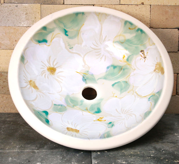 Drop-In Sink - White Floral