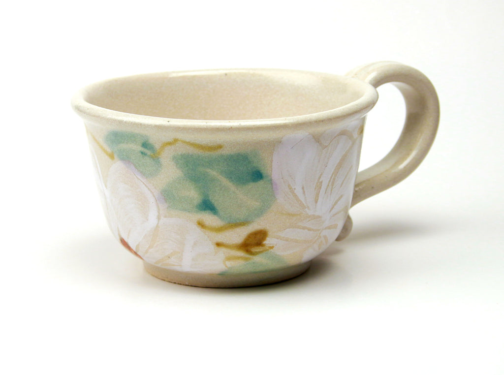 Chowder Mug - Handpainted Pattern - White Floral