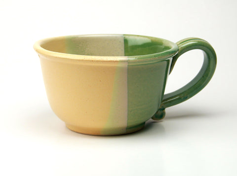 Chowder Mug - Duotone Glaze - Sea Green and Yellow
